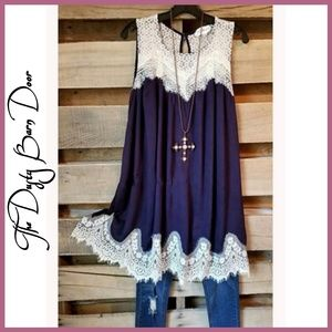 Tops - Navy Blue Lace Tunic